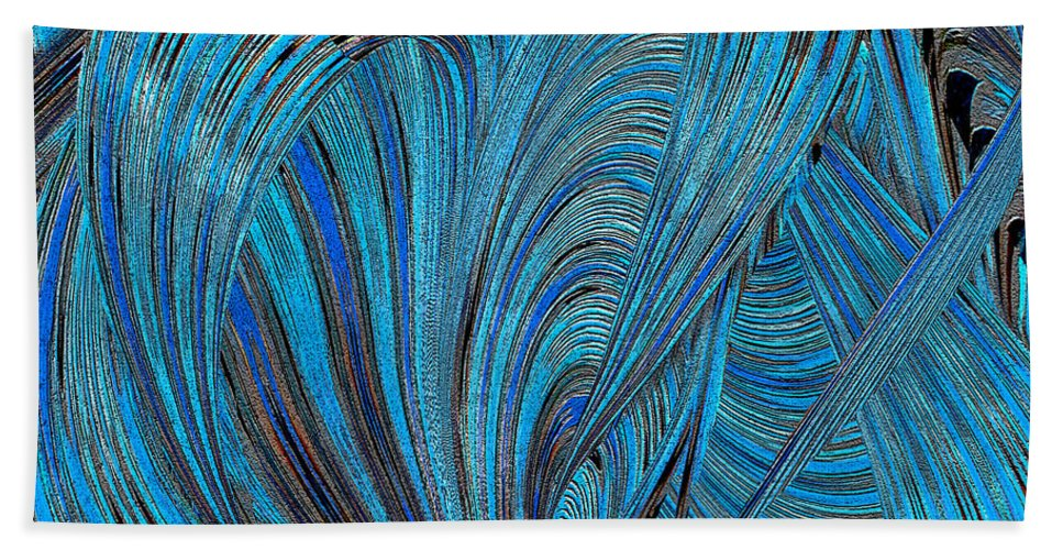 Abstract Hand Towel featuring the photograph Blue Hearts Open by Michele Avanti