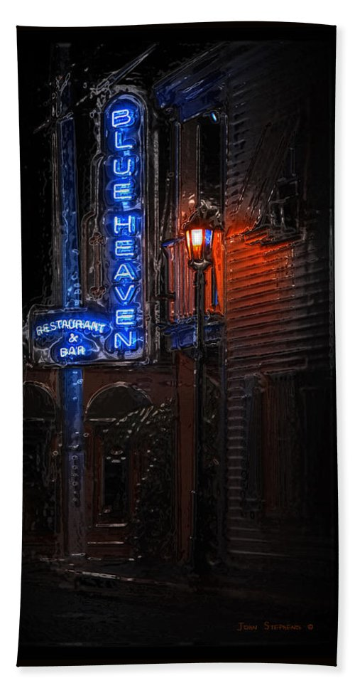 Blue Heaven Hand Towel featuring the photograph Blue Heaven Rendezvous - Key West Bar - Florida by John Stephens