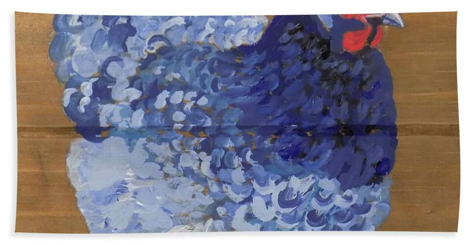 Delaware Blue Hen Bath Sheet featuring the painting Blue Hen by Paul Bashore