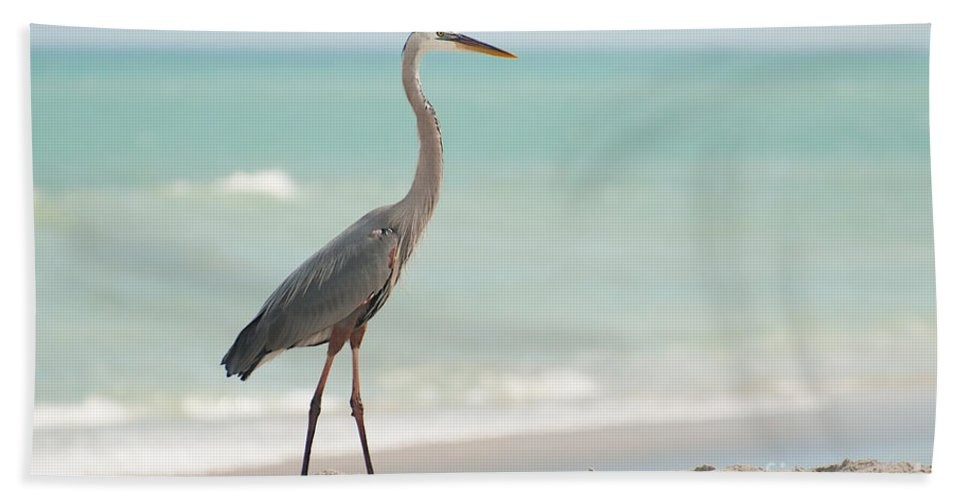 Great Hand Towel featuring the photograph Blue Heron And The Sea by Photos By Cassandra