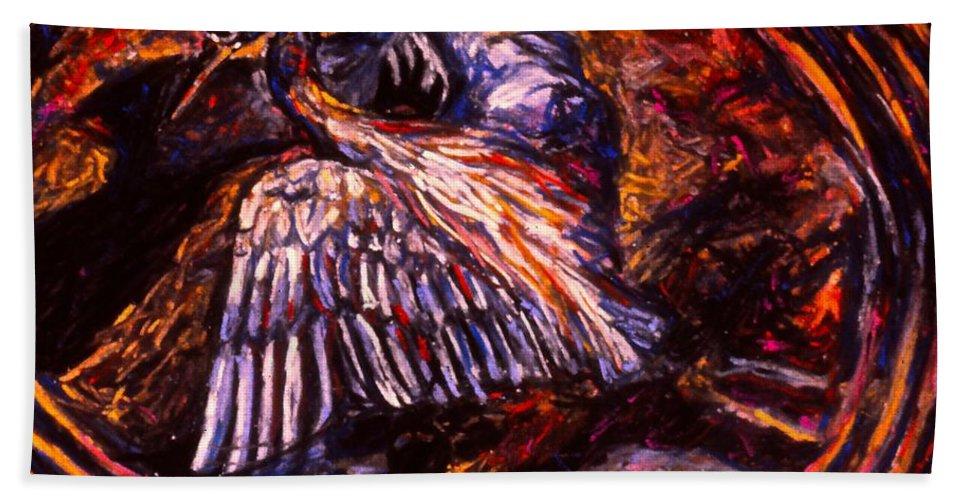 Blue Heron Bath Sheet featuring the painting Blue Heron Swirl by Kendall Kessler