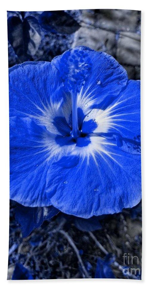 Blue Bath Sheet featuring the photograph Blue Hibiscus by Rachel Hannah