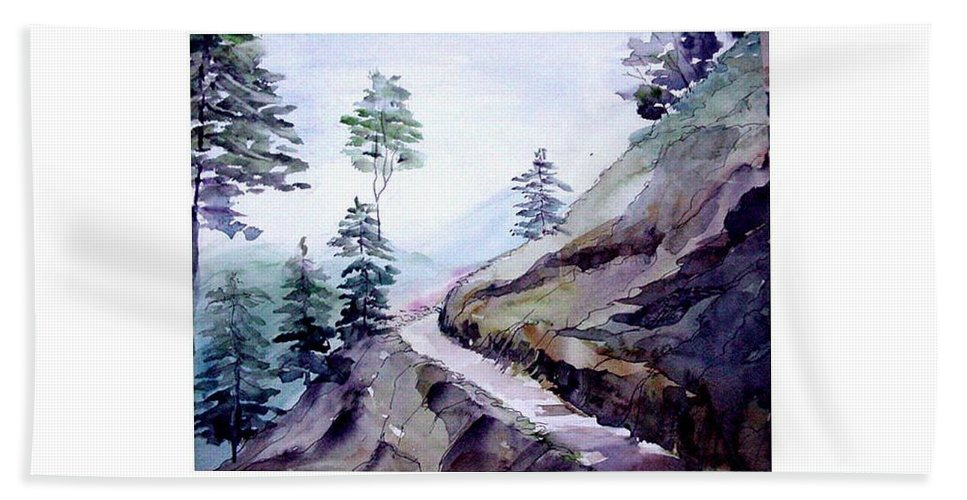 Landscape Bath Towel featuring the painting Blue Hills by Anil Nene