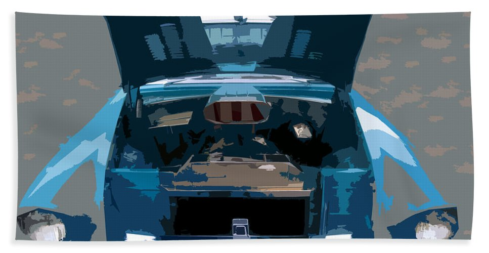 Hot Rod Bath Sheet featuring the painting Blue Hot Rod by David Lee Thompson