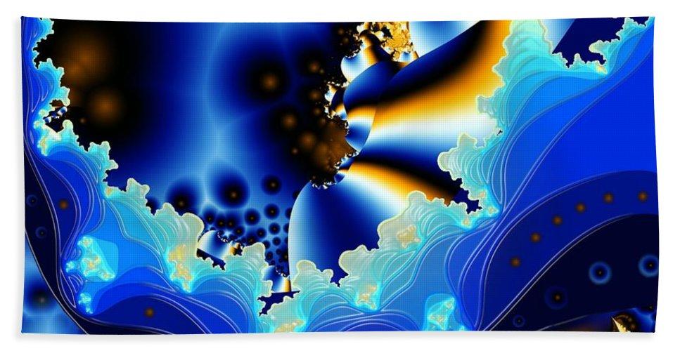 Fractal Art Hand Towel featuring the digital art Blue Hue by Ron Bissett