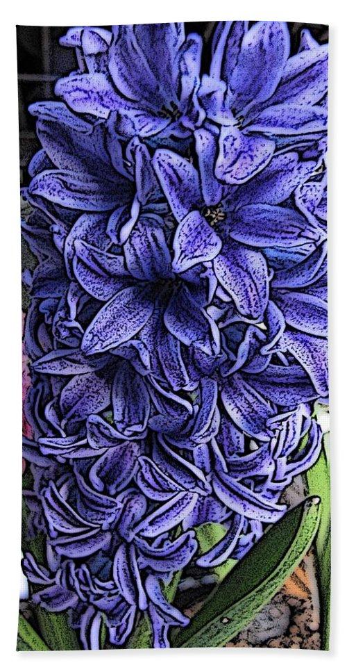 Flower Hand Towel featuring the digital art Blue Hyacinth by Tim Allen