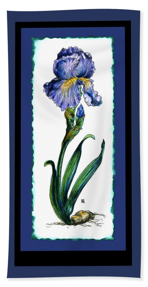 Blue Hand Towel featuring the painting Blue Iris by Shirley Heyn