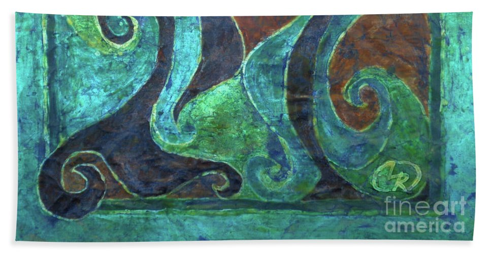 Batik Bath Sheet featuring the tapestry - textile Blue Island Curves by Lori Russell