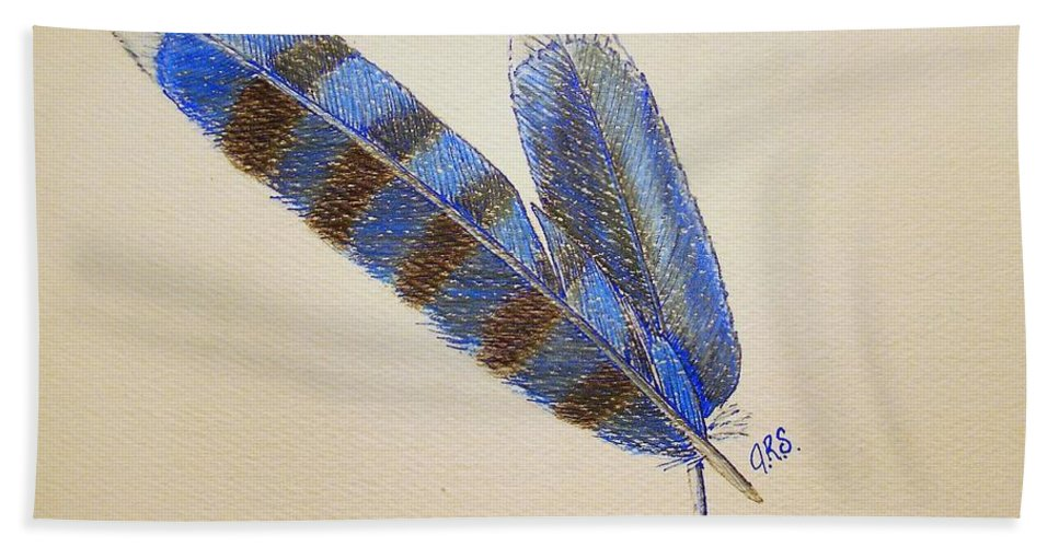 Stationery Card Hand Towel featuring the drawing Blue Jay Feathers by J R Seymour