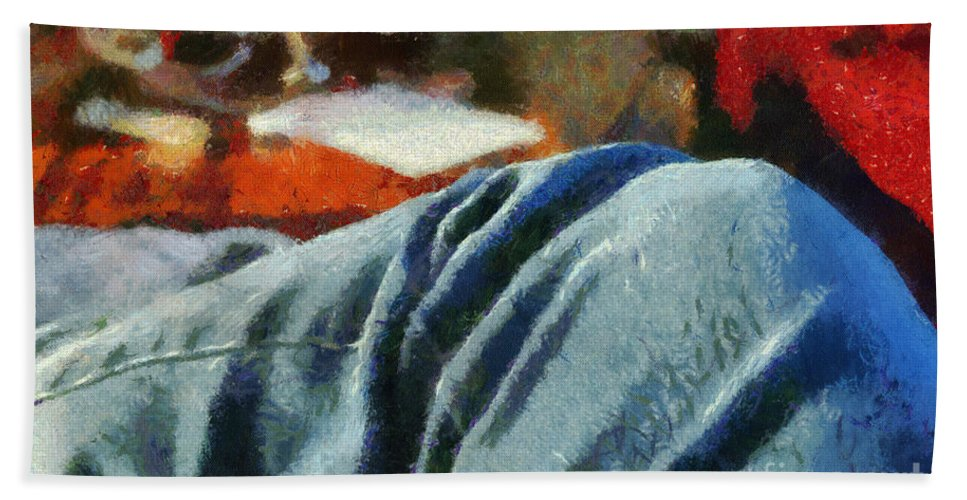 Painting Bath Sheet featuring the painting Blue Jean Morning by Paulette B Wright