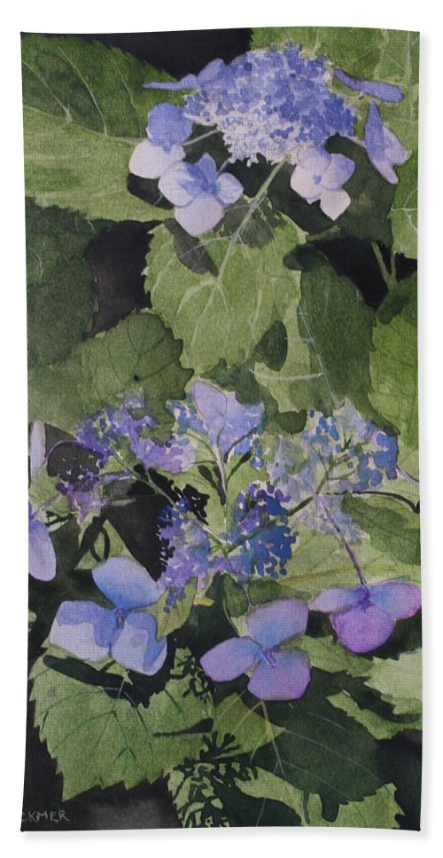 Flowers Hand Towel featuring the painting Blue Lace by Jean Blackmer