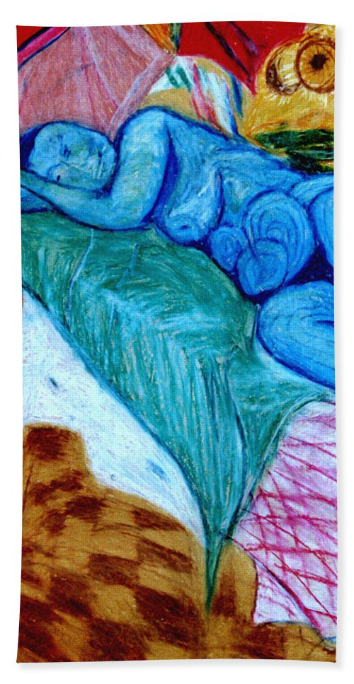 Life Drawing Hand Towel featuring the pastel Blue Lady by Frank Hiley