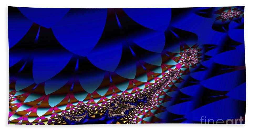 Blue Leaf Hand Towel featuring the digital art Blue Leaf by Ron Bissett