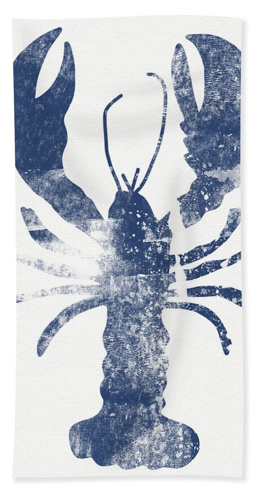 Cape Cod Bath Towel featuring the painting Blue Lobster- Art by Linda Woods by Linda Woods