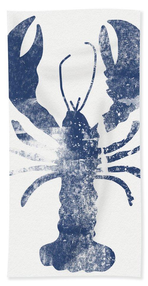 Crustacean Hand Towel featuring the painting Blue Lobster- Art By Linda Woods by Linda Woods