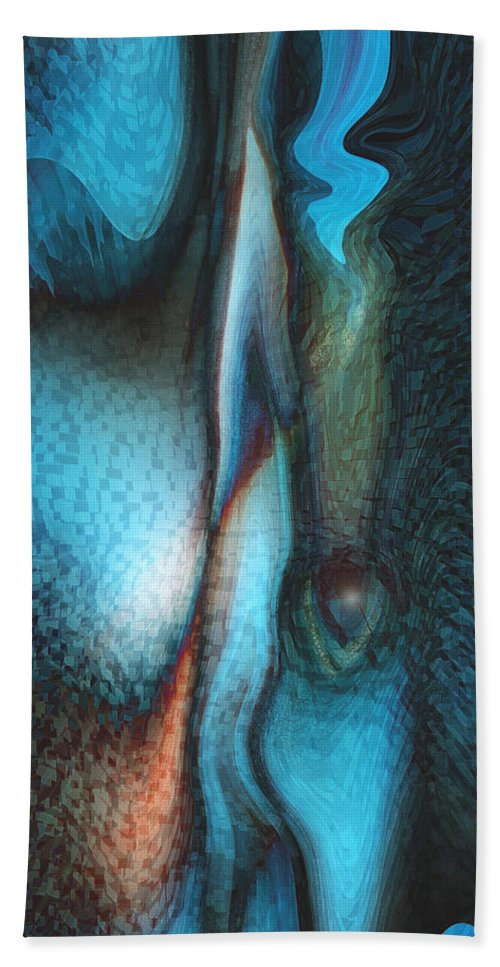 Abstract Art Bath Sheet featuring the digital art Blue Man by Linda Sannuti