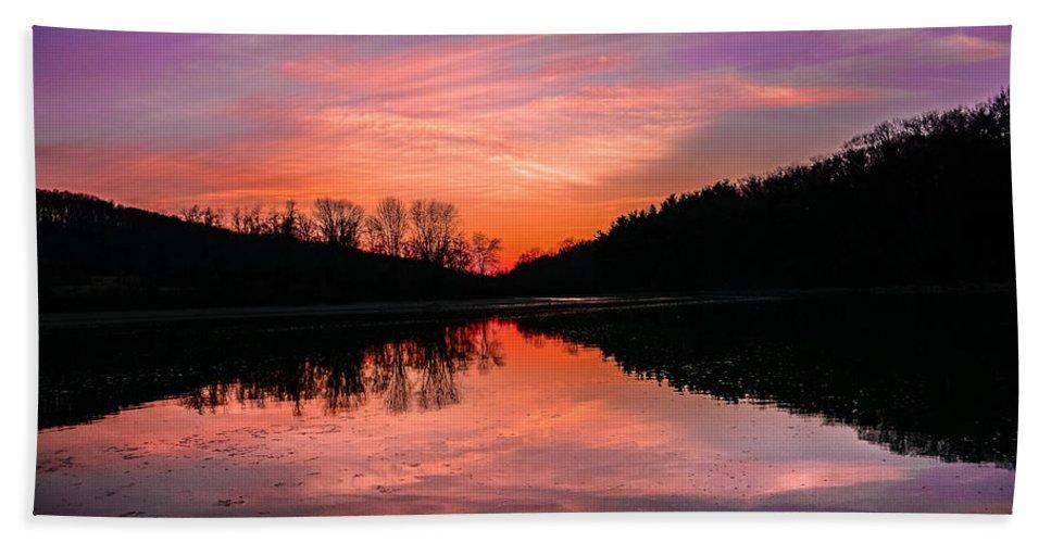 Lake Hand Towel featuring the photograph Blue Marsh Lake Sunset by Krystal Billett
