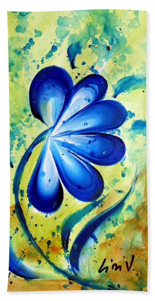 Flower Hand Towel featuring the painting Blue Mood by Luiza Vizoli