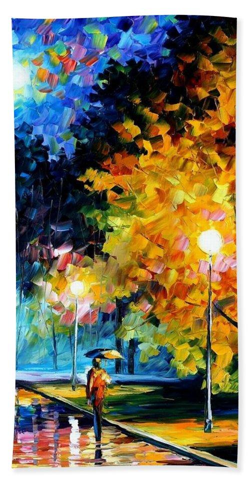 Afremov Bath Sheet featuring the painting Blue Moon by Leonid Afremov
