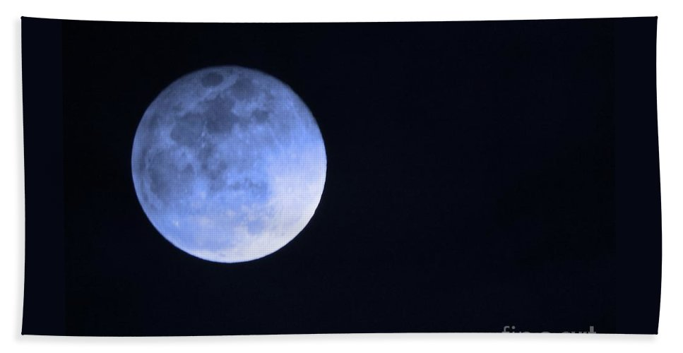 Moon Hand Towel featuring the photograph Blue Moon by Phyllis Kaltenbach