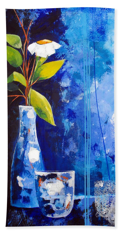 Abstract Bath Sheet featuring the painting Blue Morning by Ruth Palmer