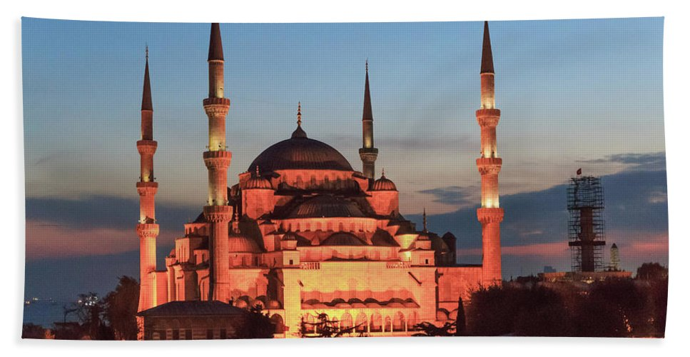 Asia Hand Towel featuring the photograph Blue Mosque At Dusk by Emily M Wilson