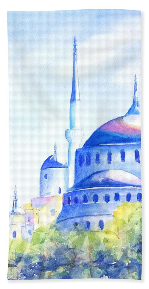 Istanbul Bath Towel featuring the painting Blue Mosque Istanbul Turkey by Carlin Blahnik CarlinArtWatercolor