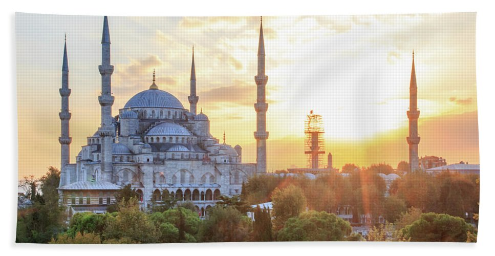 Asia Hand Towel featuring the photograph Blue Mosque Sunset by Emily M Wilson