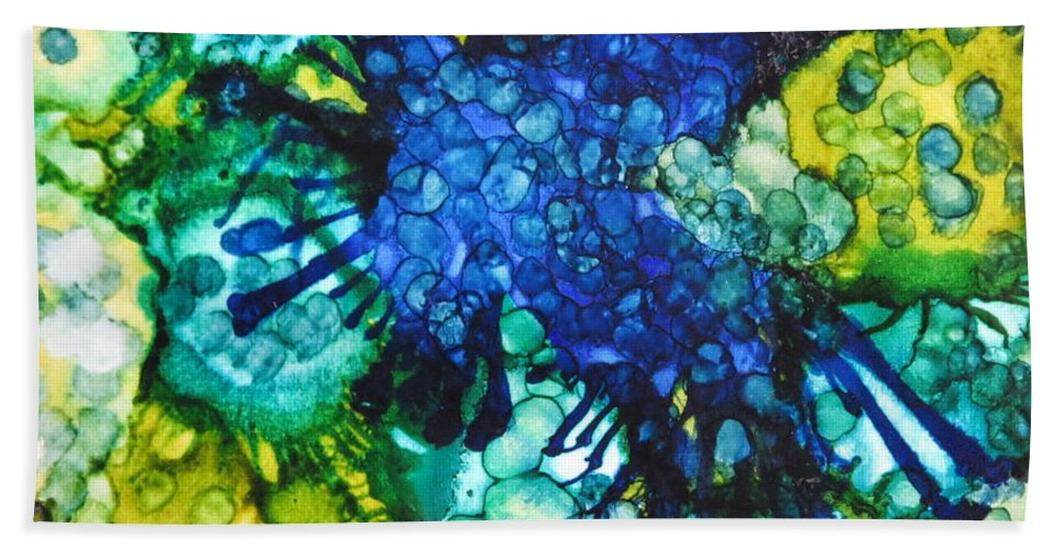 Blue Hand Towel featuring the painting Blue Moth by Tammy Finnegan