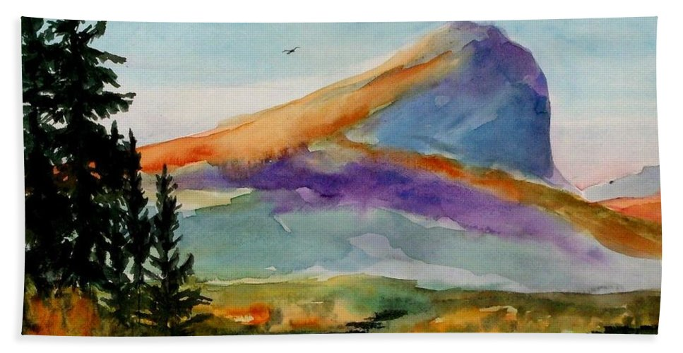 Watercolor Bath Sheet featuring the painting Blue Mountain by Mona Davis