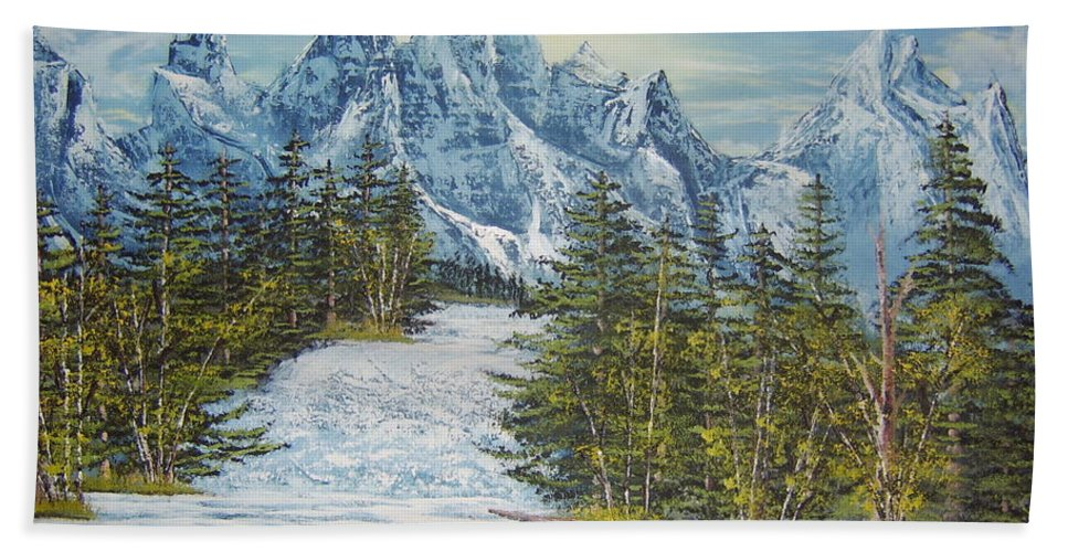 Blue Mountain Landscape Painting Images Mountain Rapids Painting Prints Whitewater Painting Prints Himalayan Mountain Painting Images Rocky Mountain Rapids Painting Prints Swollen River Prints Birch And Pine Forest Painting Prints. Hand Towel featuring the painting Blue Mountain Torrent by Joshua Bales