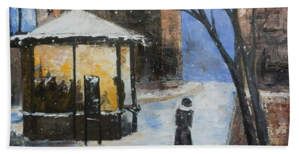 Cityscape Hand Towel featuring the painting Blue Night by Maria Karalyos