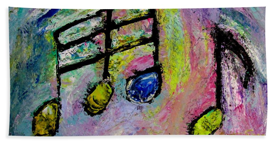 Impressionist Bath Sheet featuring the painting Blue Note by Anita Burgermeister