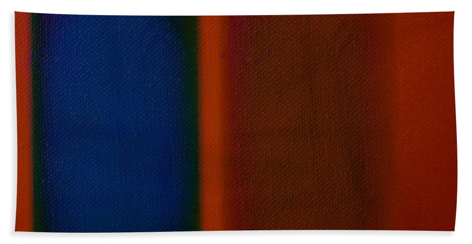 Rothko Hand Towel featuring the painting Blue On Orange by Charles Stuart