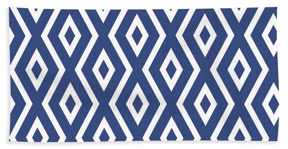 Blue And White Bath Towel featuring the mixed media Blue Pattern by Christina Rollo