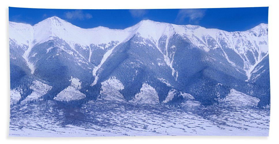 Mountains Bath Sheet featuring the photograph Blue Peaks by Jerry McElroy