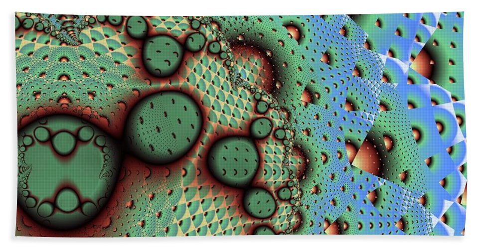 Fractal Art Bath Towel featuring the digital art Blue Pineapple by Ron Bissett