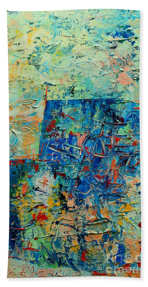 Blue Hand Towel featuring the painting Blue Play 1 by Ana Maria Edulescu
