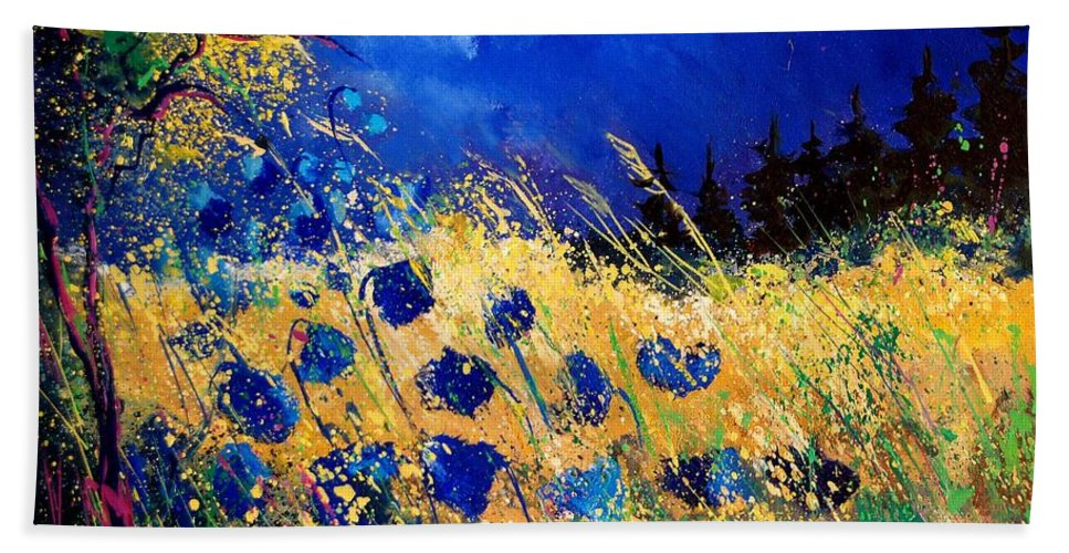 Flowers Hand Towel featuring the painting Blue Poppies 459070 by Pol Ledent