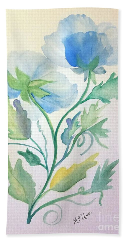 Blue Poppies Hand Towel featuring the painting Blue Poppies by Maria Urso