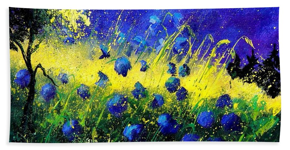 Flowers Bath Towel featuring the painting Blue Poppies by Pol Ledent