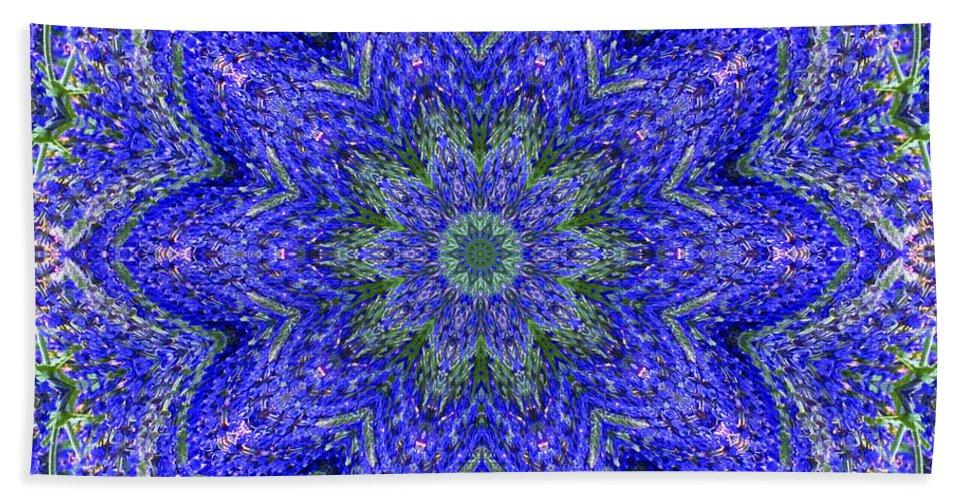 Kaleidoscope Hand Towel featuring the photograph Blue Purple Lavender Floral Kaleidoscope Wall Art Print by Carol F Austin