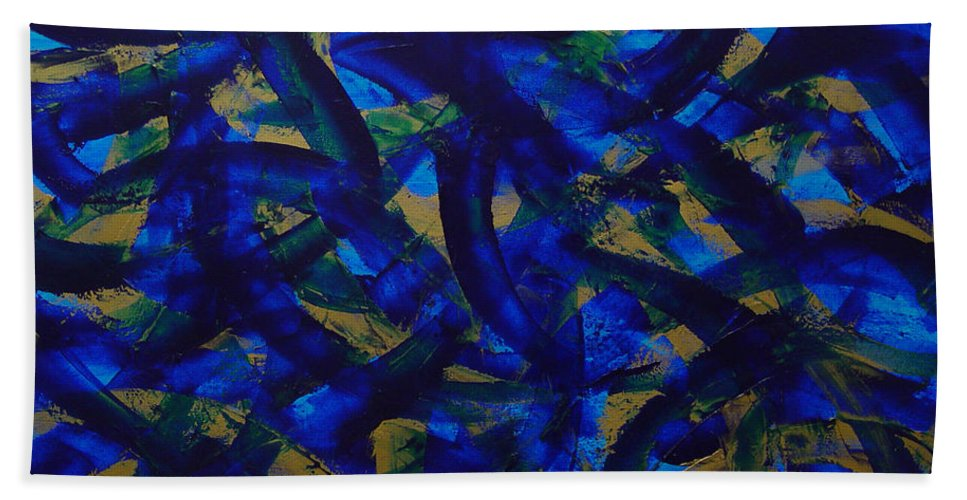 Abstract Bath Towel featuring the painting Blue Pyramid by Dean Triolo