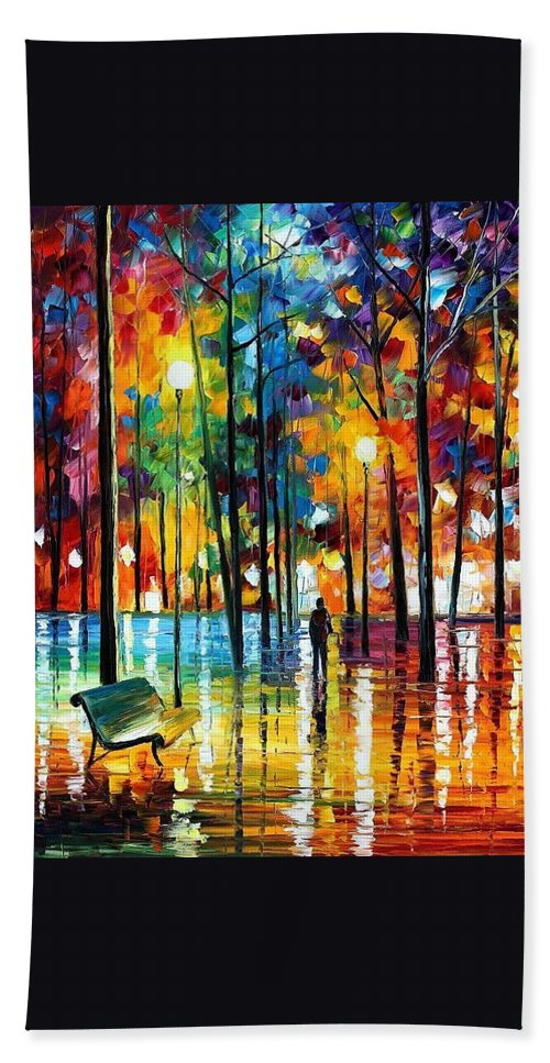 Afremov Hand Towel featuring the painting Blue Refelctions by Leonid Afremov
