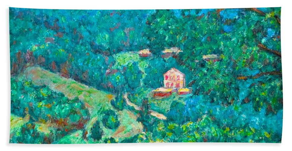 Mountains Hand Towel featuring the painting Blue Ridge Magic by Kendall Kessler