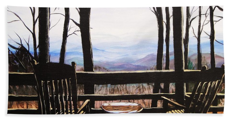 North Carolina Hand Towel featuring the painting Blue Ridge Mountain Porch View by Patricia L Davidson