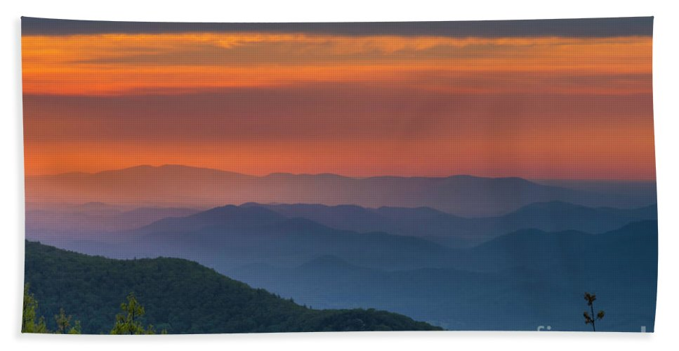 Blueridge Bath Sheet featuring the photograph Blue Ridge Sunrise At Wintergreen I by Karen Jorstad