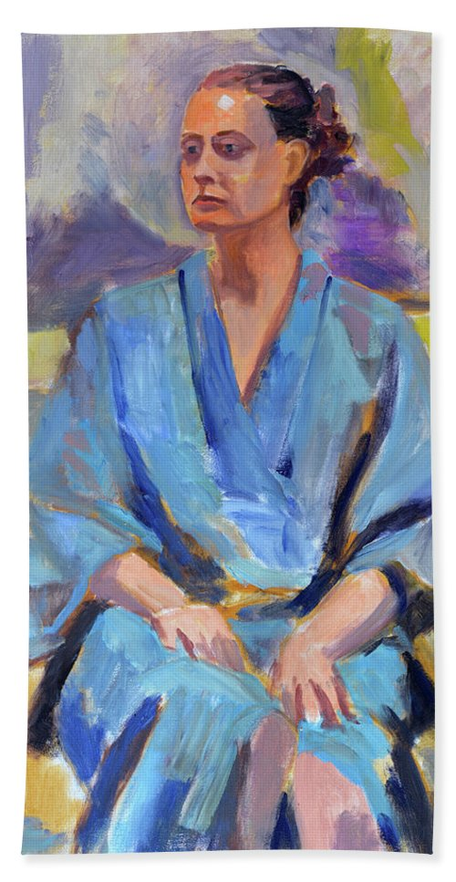 Figure Bath Sheet featuring the painting Blue Robe by Keith Burgess