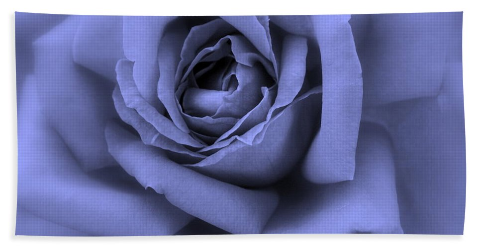 Blue Bath Sheet featuring the photograph Blue Rose Abstract by Carol Groenen