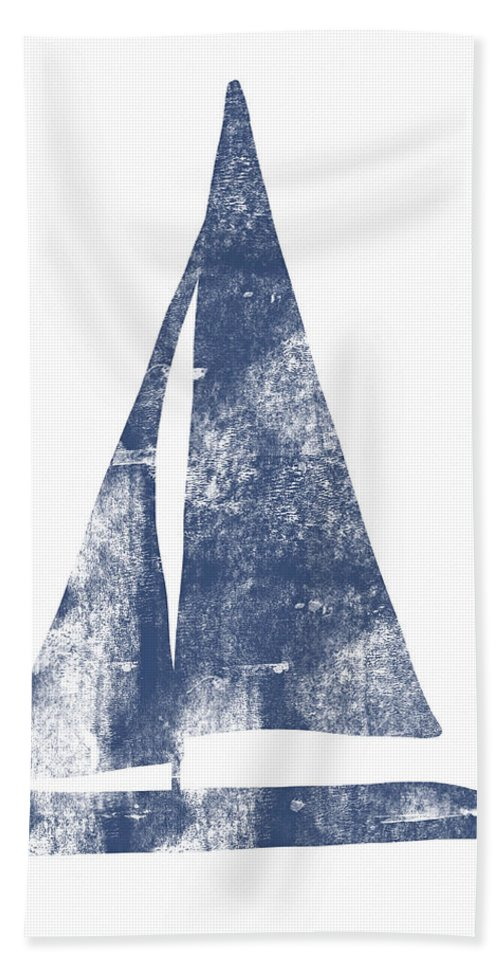 Boat Bath Towel featuring the painting Blue Sail Boat- Art By Linda Woods by Linda Woods